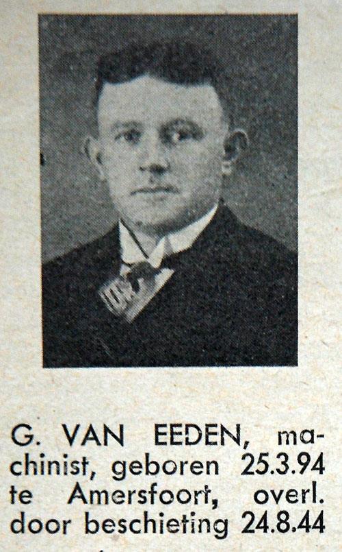 G. van Eeden (bron: Spoor- en Tramwegen). Gijsbertus van Eeden kwam als machinist om het leven door beschietingen van vliegtuigen.